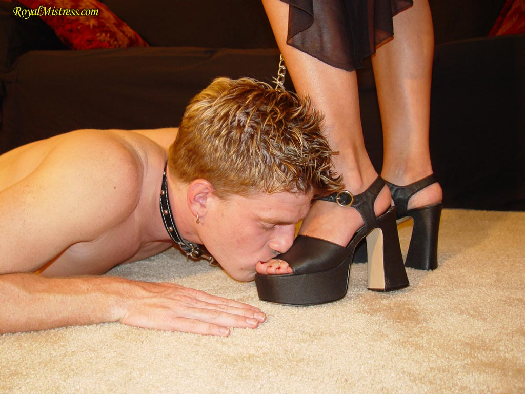 Sub crawls to her Misstress and worships her shoes and feet